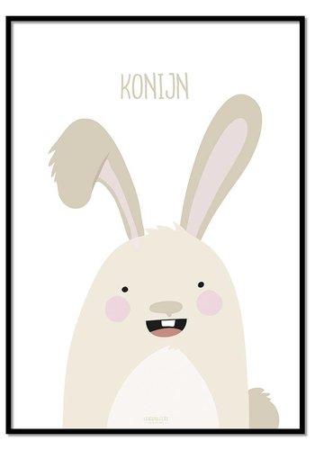 Poster konijntje met tekst