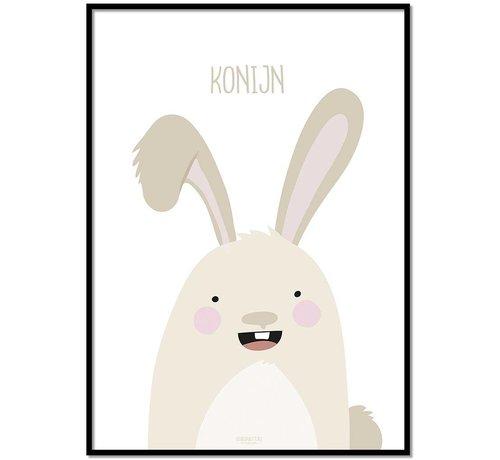 Lievespulletjes Poster babykamer konijntje met tekst