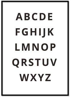 Lievespulletjes Alfabet poster - zwart wit
