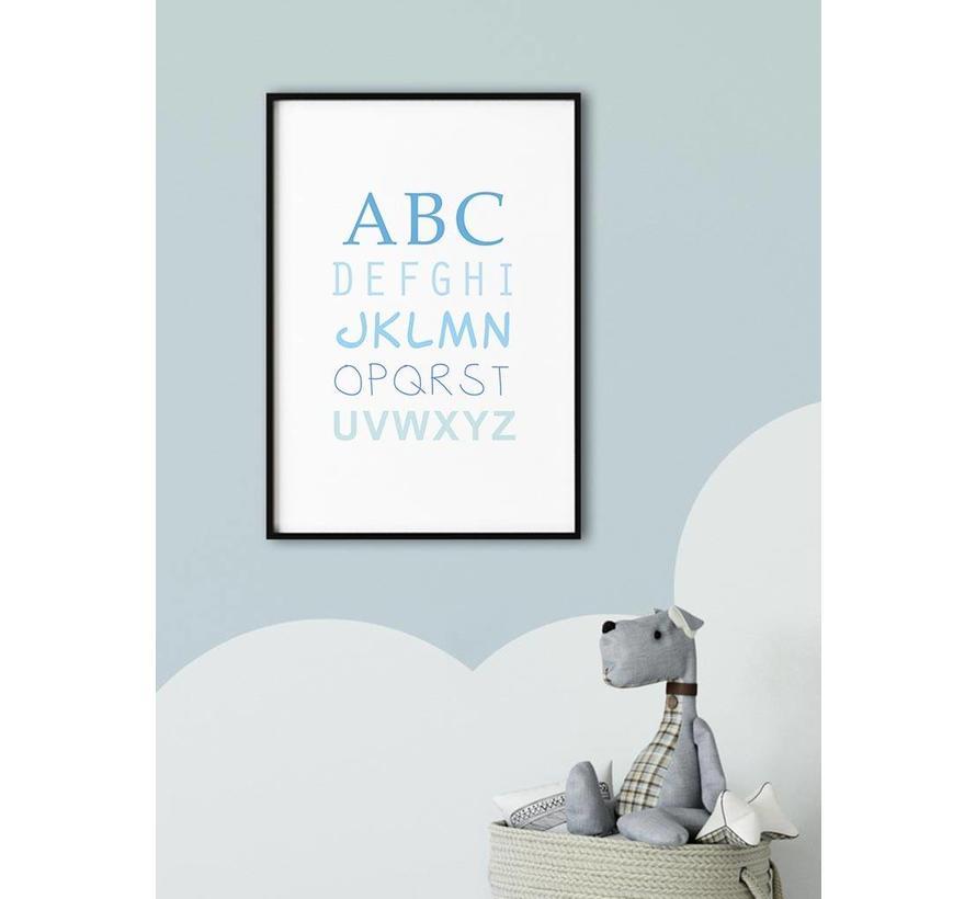 ABC poster voor de baby of kinderkamer (blauw)