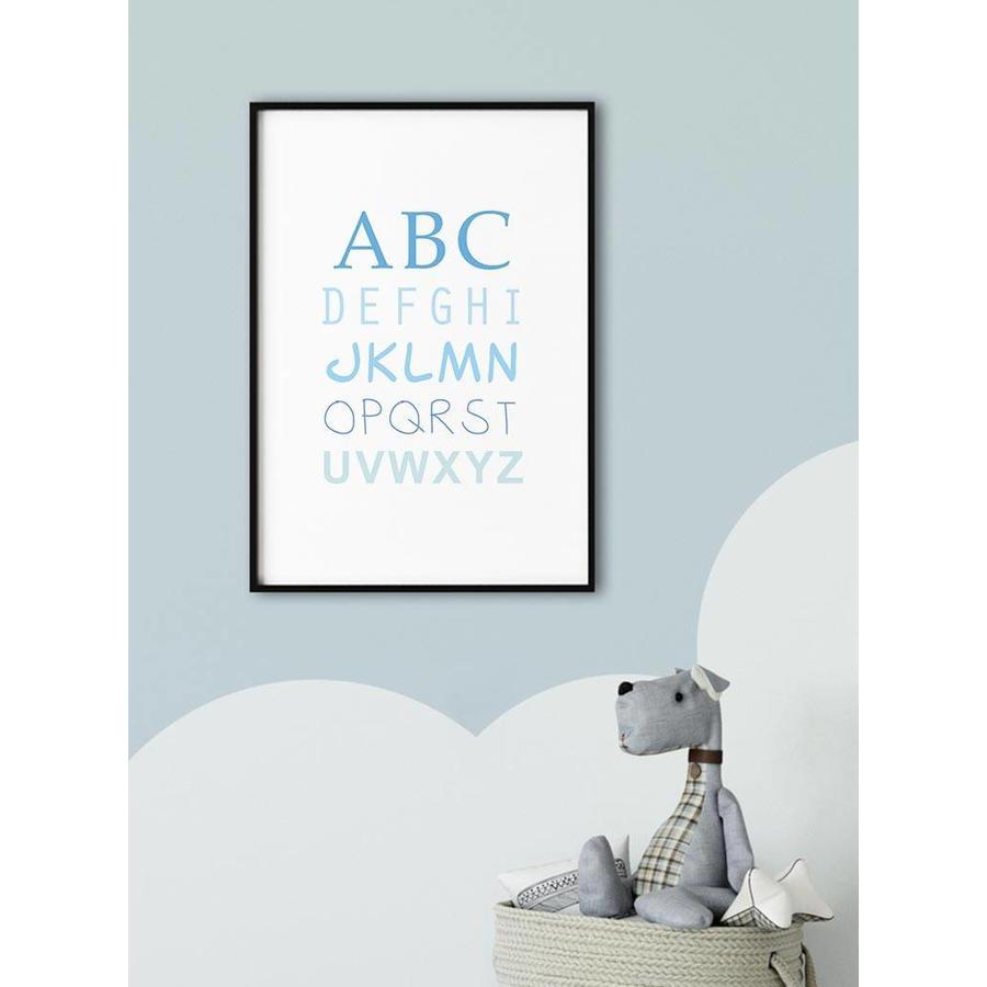 ABC poster voor de baby of kinderkamer (blauw)-2