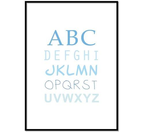 Lievespulletjes ABC poster voor de baby of kinderkamer (blauw)