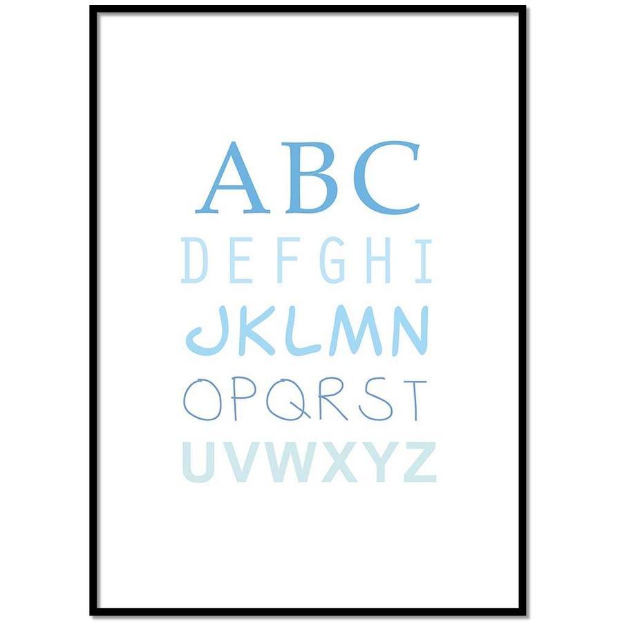 ABC poster voor de baby of kinderkamer (blauw)-1