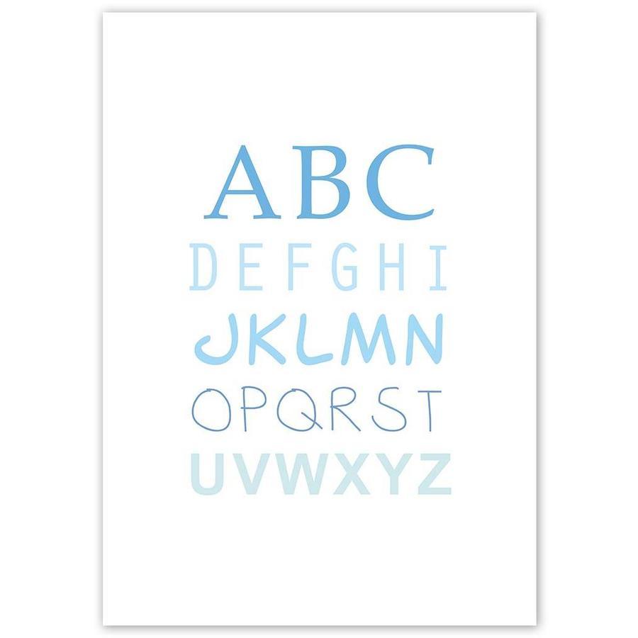 ABC poster voor de baby of kinderkamer (blauw)-3