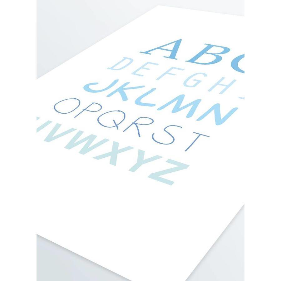 ABC poster voor de baby of kinderkamer (blauw)-5