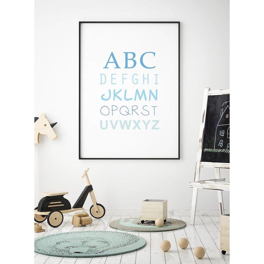 ABC poster voor de baby of kinderkamer (blauw)-4