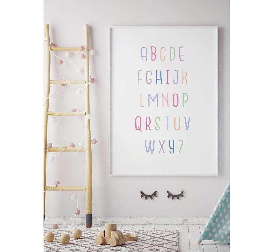 Alfabet poster lieve kleurtjes