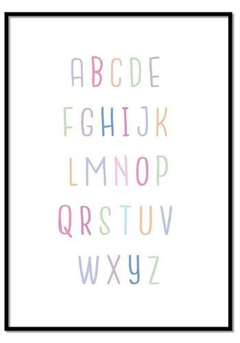 Alfabet poster - lieve kleurtjes