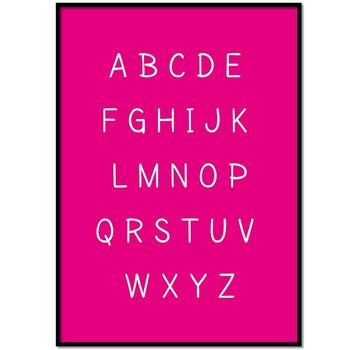 Lievespulletjes Alfabet poster cartoon - fuchsia