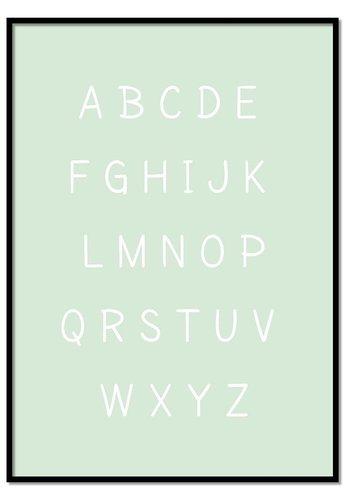 Alfabet poster cartoon - mintgroen