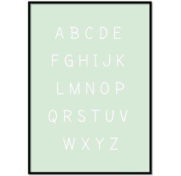 Lievespulletjes Alfabet poster cartoon - mintgroen