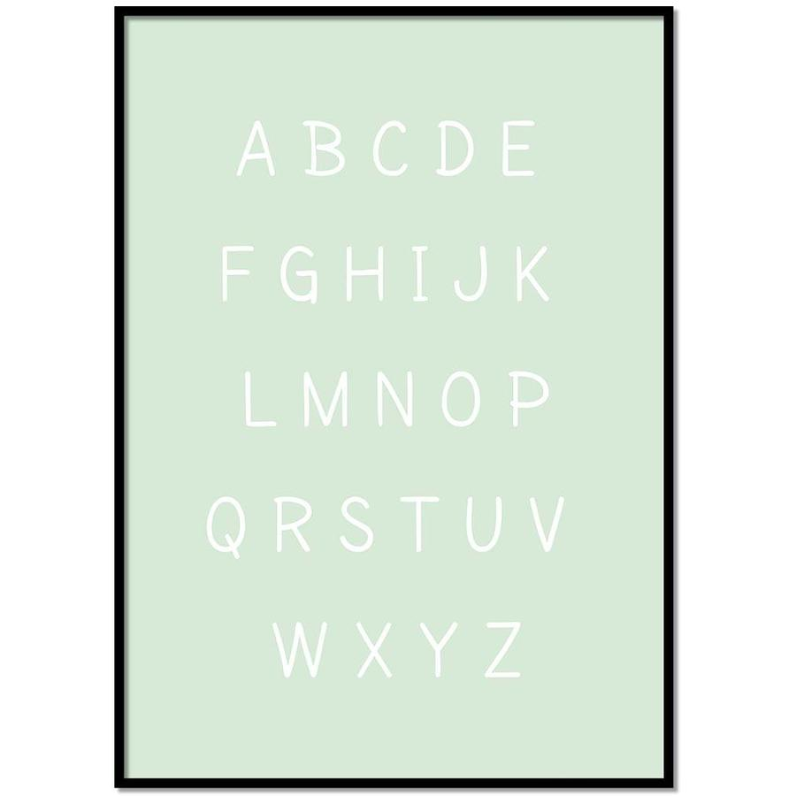 Alfabet poster cartoon - mintgroen-1