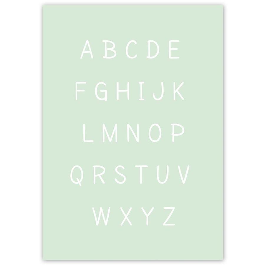 Alfabet poster cartoon - mintgroen-3