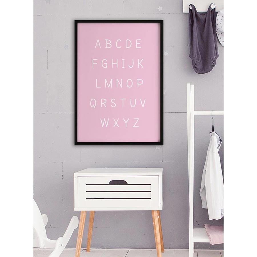 Alfabet poster cartoon - roze-4