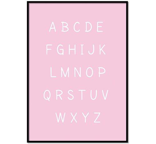 Lievespulletjes Alfabet poster cartoon - roze