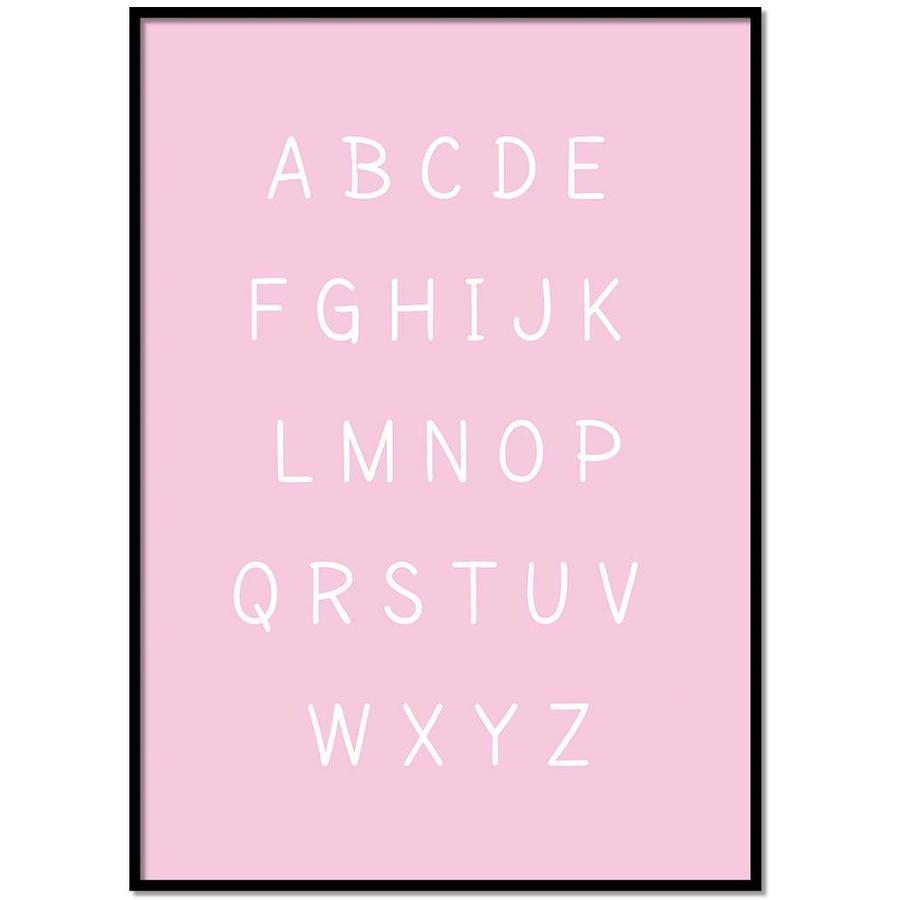 Alfabet poster cartoon - roze-1