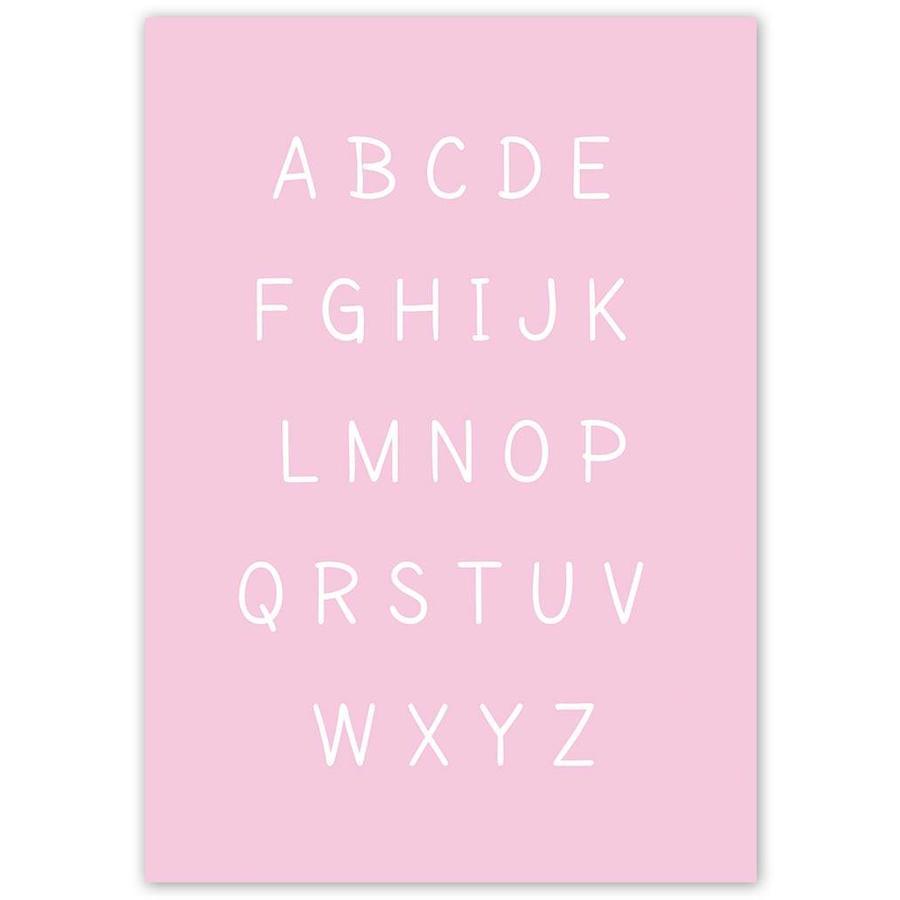 Alfabet poster cartoon - roze-5