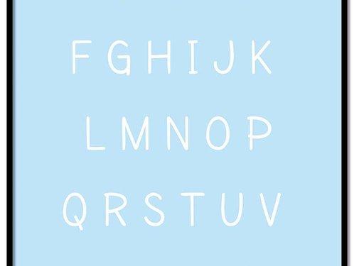 Lievespulletjes Alfabet poster cartoon - blauw