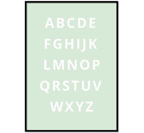 Lievespulletjes Alfabet poster - mintgroen