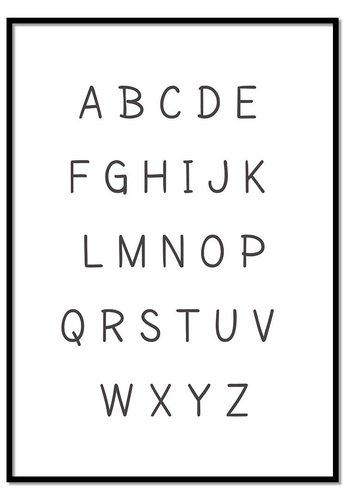 Alfabet poster cartoon - zwart wit