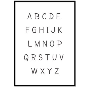 Lievespulletjes Alfabet poster cartoon - zwart wit
