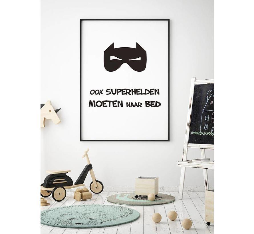 Poster kinderkamer ook superhelden moeten naar bed