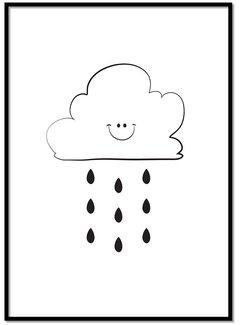 Lievespulletjes Poster kinderkamer: Lief regenwolkje