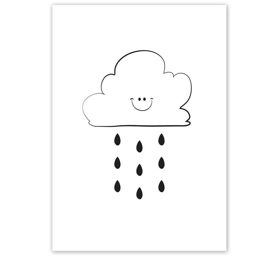 Poster kinderkamer: Lief regenwolkje