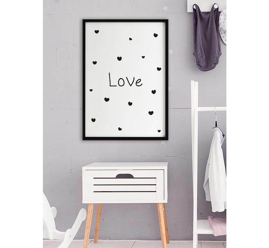 Poster kinderkamer :Love met hartjes wit