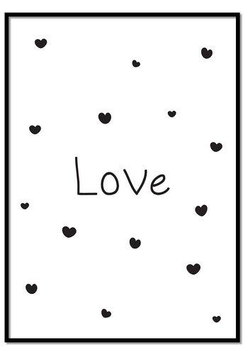 Poster kinderkamer: Love met hartjes wit