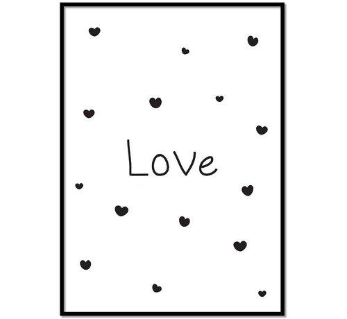 Lievespulletjes Poster kinderkamer :Love met hartjes wit
