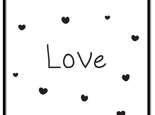 Lievespulletjes Poster kinderkamer: Love met hartjes wit