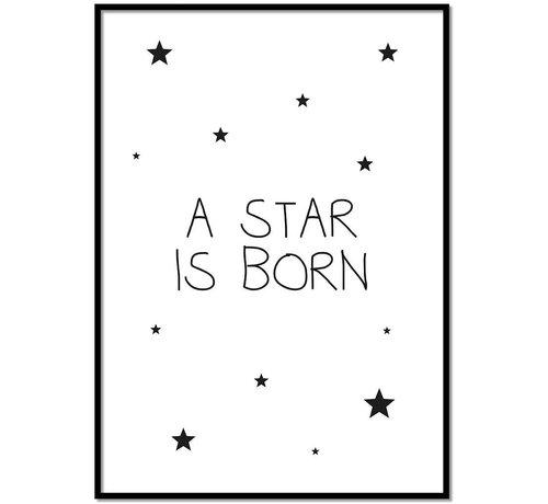 Lievespulletjes Poster kinderkamer: A star is born - wit