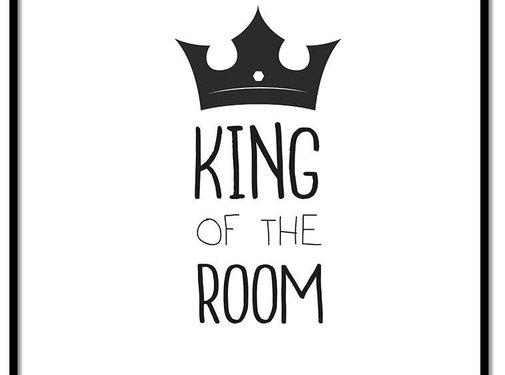 Lievespulletjes Poster king of the room zwart wit