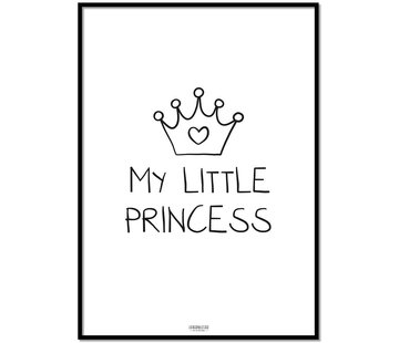 Lievespulletjes Poster kinderkamer: My Little Princess zwart wit