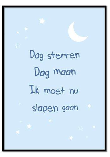 Poster dag sterren dag maan blauw