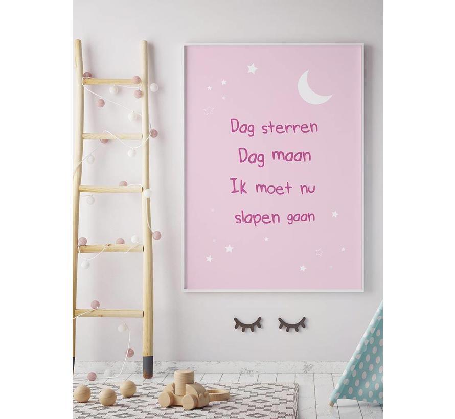 Poster dag sterren dag maan roze