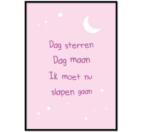 Lievespulletjes Poster dag sterren dag maan roze