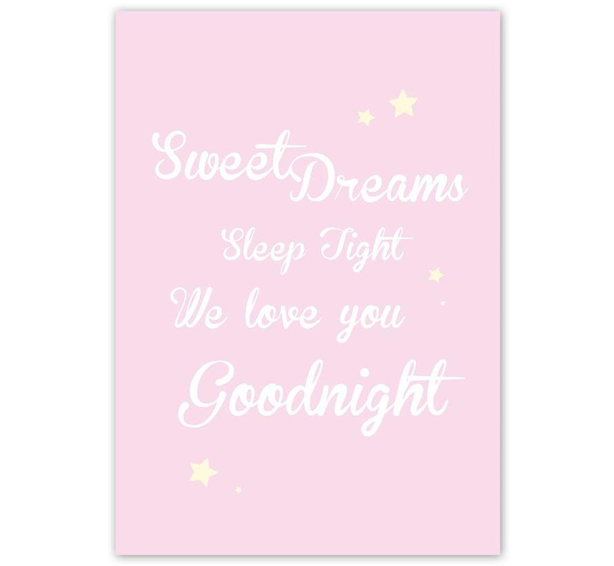 Poster Sweet Dreams Sleep Tight We Love You Goodnight roze