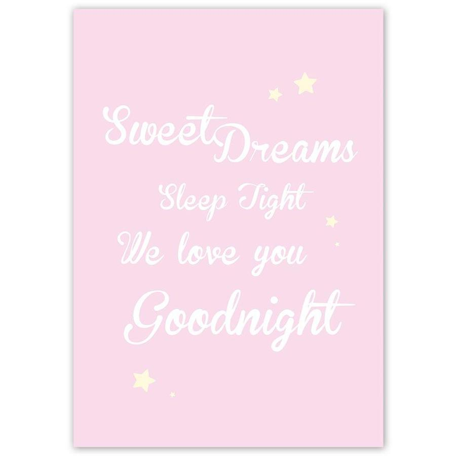 Poster Sweet Dreams Sleep Tight We Love You Goodnight roze-5