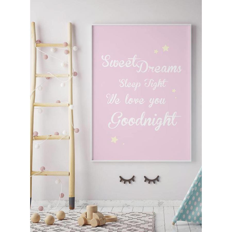 Poster Sweet Dreams Sleep Tight We Love You Goodnight roze-4