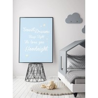 thumb-Poster Sweet Dreams Sleep Tight We Love You Goodnight blauw-4