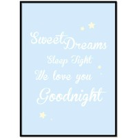 thumb-Poster Sweet Dreams Sleep Tight We Love You Goodnight blauw-1