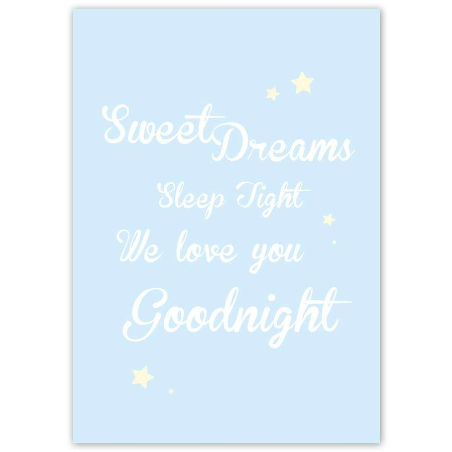 Poster Sweet Dreams Sleep Tight We Love You Goodnight blauw-5
