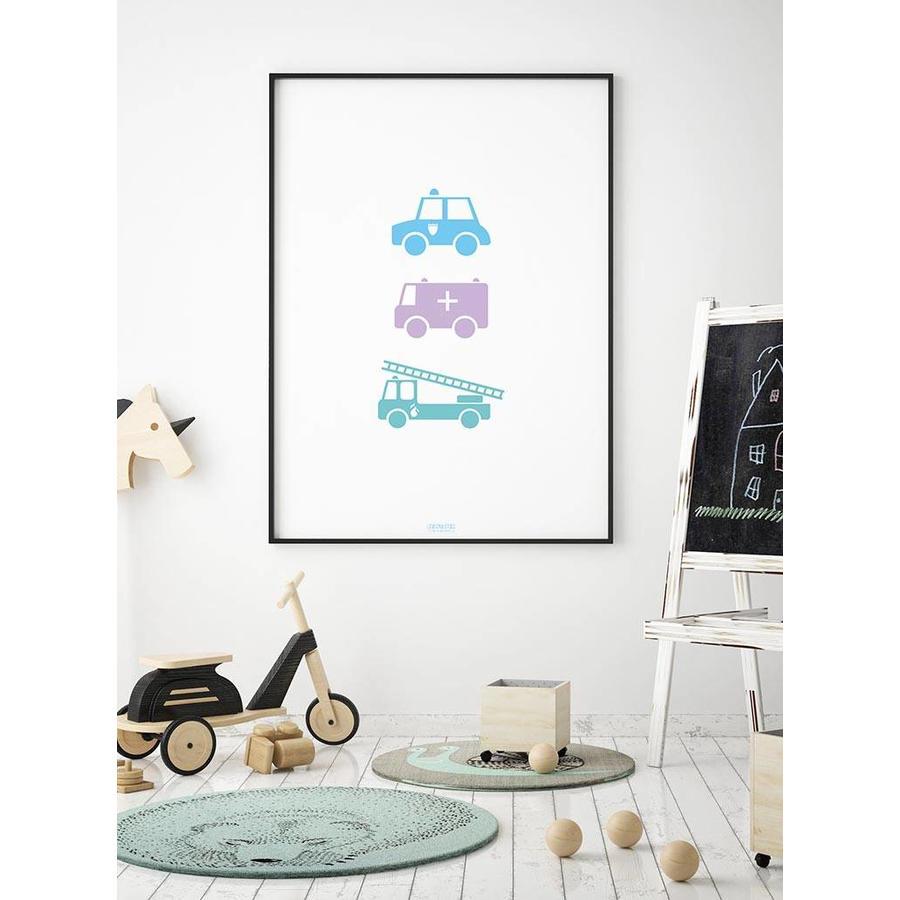 Poster babykamer politie ziekenauto brandweerwagen-4