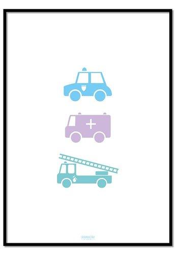 Poster politie ziekenauto brandweerwagen wit