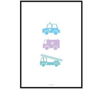Lievespulletjes Poster politie ziekenauto brandweerwagen wit