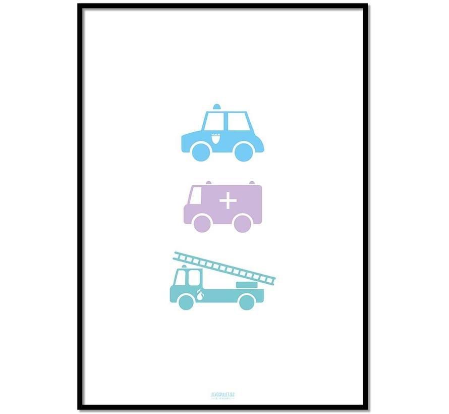 Poster babykamer politie ziekenauto brandweerwagen