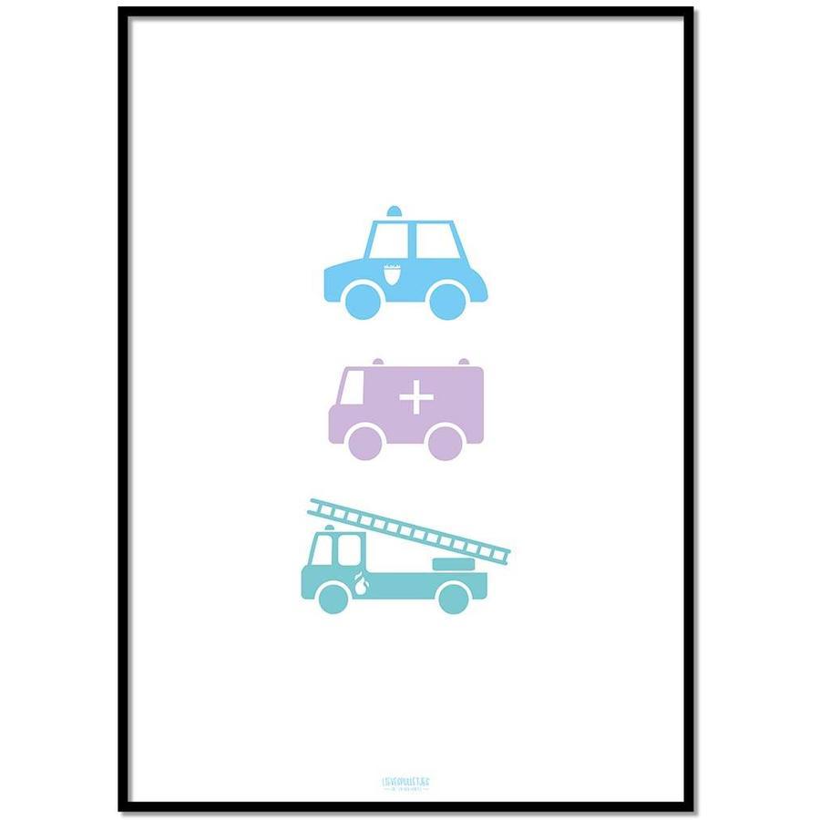 Poster babykamer politie ziekenauto brandweerwagen-1