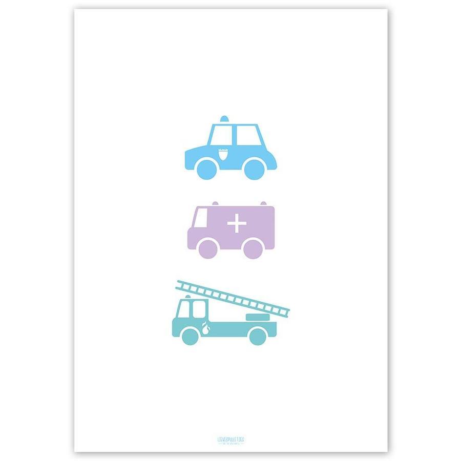 Poster babykamer politie ziekenauto brandweerwagen-3
